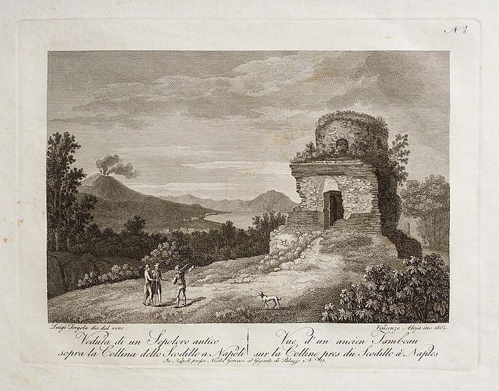 Veduta di un Sepolcro antico siopra la Collina dello Scodillo a Napoli