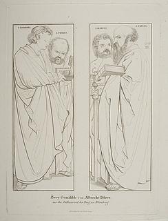 Apostlene Johannes og Peter.  Markus og Paulus