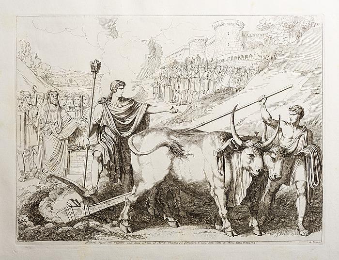 Romolo segna col l'Aratro una linea intorno al monte Palatino, per fabricarvi le mura, della Città di Roma (Romulus trækker en linje rundt om Palatinerhøjen)