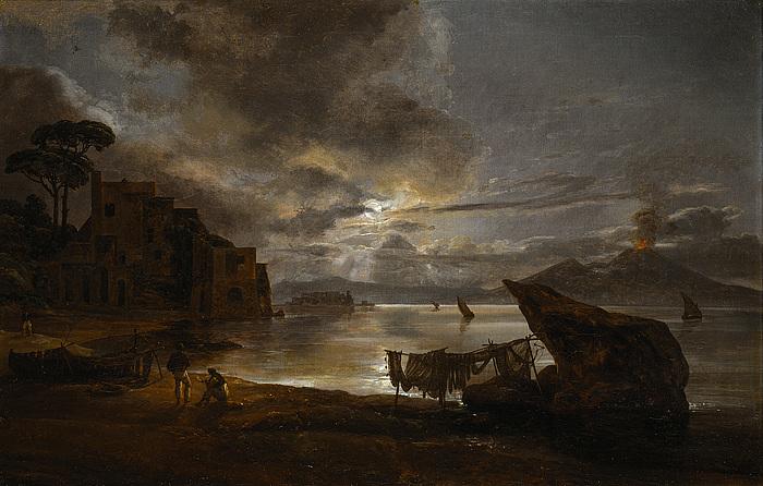 Bugten ved Napoli i m?neskin og Vesuv i udbrud