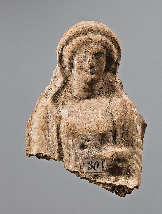 Statuette af en siddende kvinde med en skål. Vestgræsk