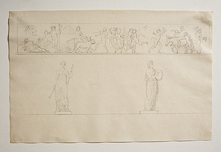 Bacchantisk optog med Bacchus og Ariadne. To musestatuer