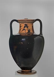 Amfora med Dionysos blandt dansende silener (A) og Herakles med det erymanthiske vildsvin (B). Græsk