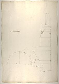 Konstantin-buen, profil af postament og søjle og tværsnit af søjle