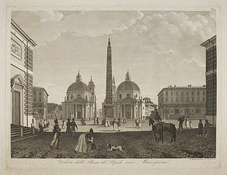 Veduta della Piazza del Popolo verso Mezzogiorno ( Prospekt af Piazza del Popolo før middag )