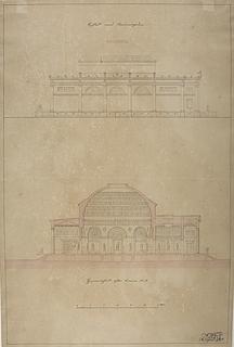 Thorvaldsens Museum, projekt med udgangspunkt i den ufuldendte Frederiks Kirke kaldt Marmorkirken, opstalt og snit
