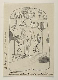 Skæget maske. Figur stående på to krokodiller. Hieroglyffer