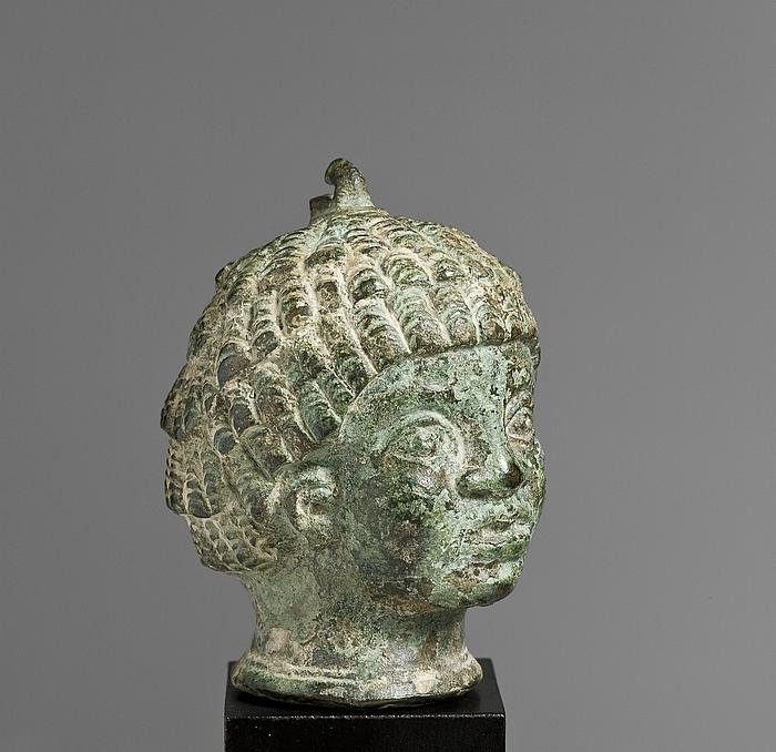 Vægtlod i form af hoved af en afrikansk dreng. Romersk