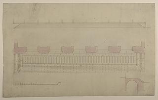Thorvaldsens Museum, plan, opstalt og snit af den udvendige trappe