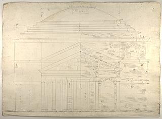 Pantheon, opstalt af facaden og halvt længdesnit af forhallen