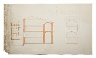 Thorvaldsens Museum, plan, længdesnit og tværsnit igennem værelserne nr. 21 og 34