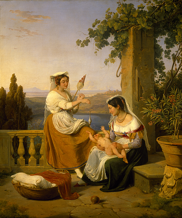 En familiescene ved Nemisøen