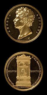 Medalje forside: Andrea Appiani. Medalje bagside: Monument over Andrea Appiani