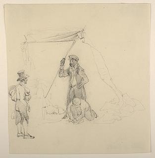 Tre mænd foran en teltåbning