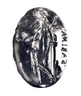 Venus Victrix med hjelm, spyd og skjold. Hellenistisk-romersk ringsten