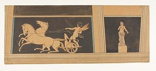 Amorin på en vogn med to stejlende heste. Psyche (?)