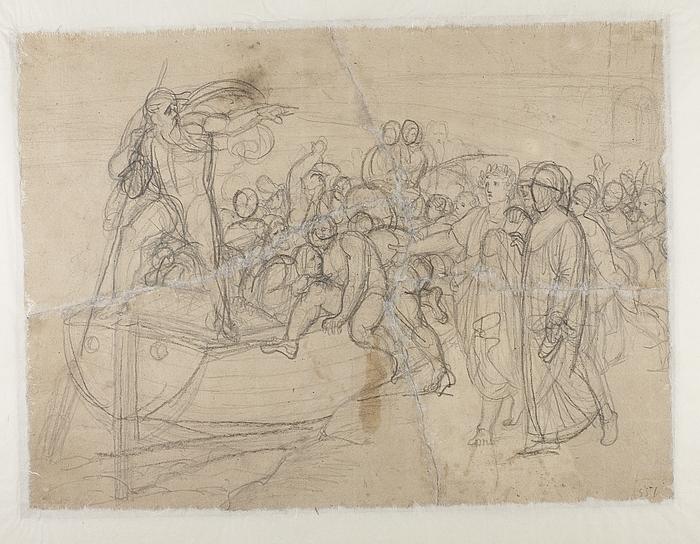 Dante og Vergil ved Charons båd