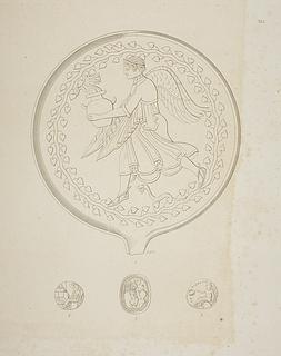 Vinget gudinde (?) henter vand ved en fontæne