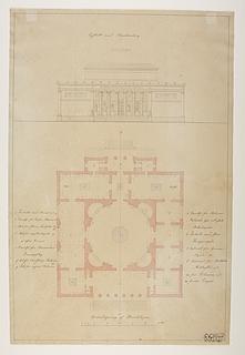 Thorvaldsens Museum, projekt med udgangspunkt i den ufuldendte Frederiks Kirke kaldt Marmorkirken, opstalt og grundplan