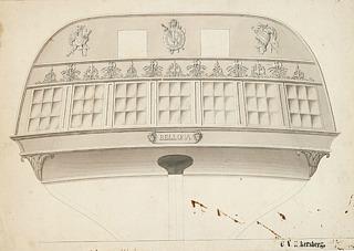 C. W. Eckersberg: Fregatten Bellona. Udkast til agterspejl, dateret Juli 1830, tusch og lavering, 27 x 39 cm, privateje. Foto: Bruun Rasmussen Kunstauktioner