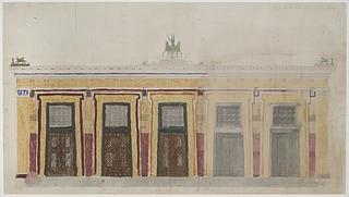 Gottlieb Bindesbøll: Opstalt af Thorvaldsens Museums sydvestlige facade, formodentlig 1839, blyant og akvarel på papir, Samlingen af Arkitekturtegninger, Danmarks Kunstbibliotek