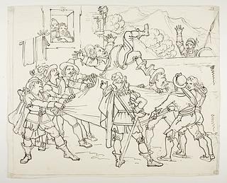 Sancho Panza kastes rundt af mændene fra Sevilla