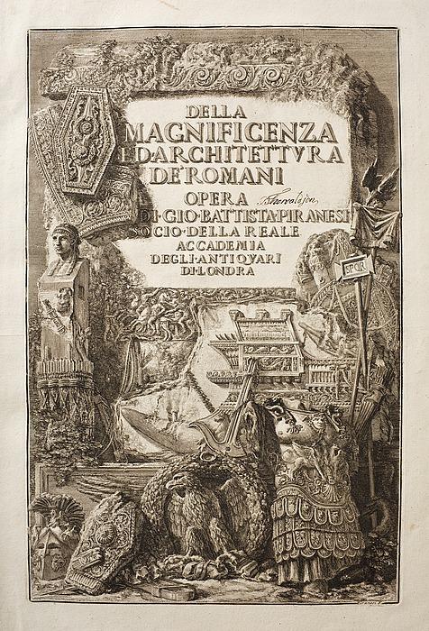 Giovanni Battista Piranesi: Della Magnificenza e d'Architettura de' Romani, Roma, 1761, titelblad