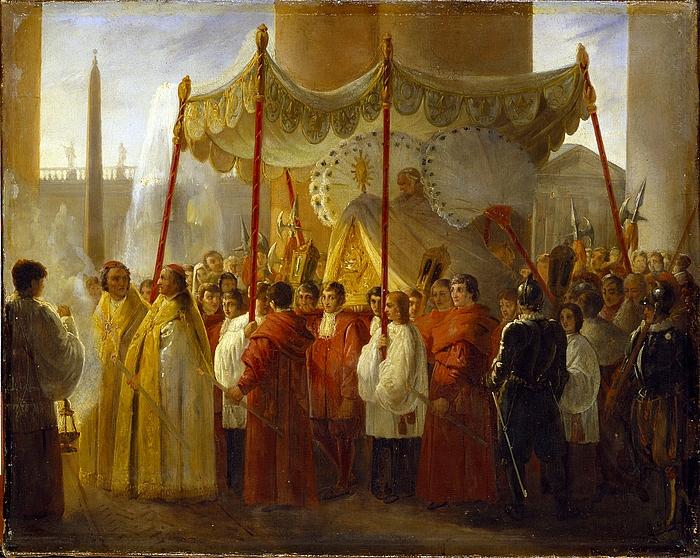 Pius 8. bliver ved Kristi legemsfest båret igennem Peterskirkens kolonnade