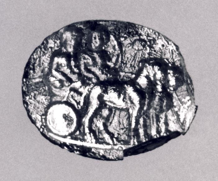 Dionysos og Ariadne i en vogn trukket af to pantere. Hellenistisk-romersk paste