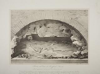 Rafaels skelet dele under åbningen af hans grav