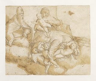 Maria med barnet omgivet af engle