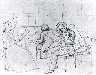 Wilhelm Marstrand: A group singing, led by Henrik Rung at the piano, in the home of the painter Jørgen Roed in Copenhagen, c. 1848. Drawing. Private collection.