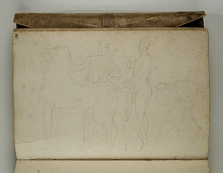 Hest og tre figurer
