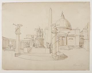 Festdekoration på pladsen foran en kuppelkirke