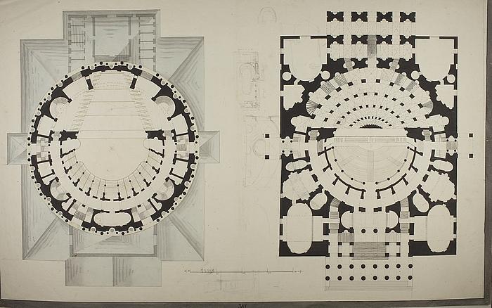 Teater i romersk stil, plantegning til to etager