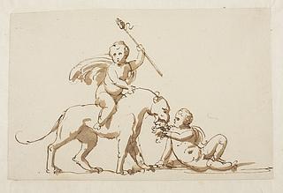 Bacchus på en panter, satyrdreng med vindruer