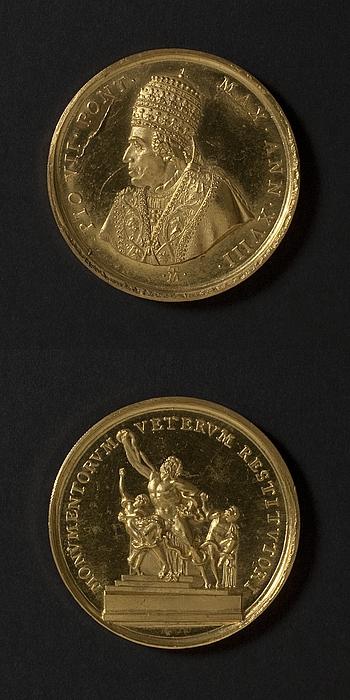 Medalje forside: Pius 7. Medalje bagside: Laokoon-gruppen