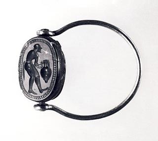 Silen med en amfora. Etruskisk skarabæ