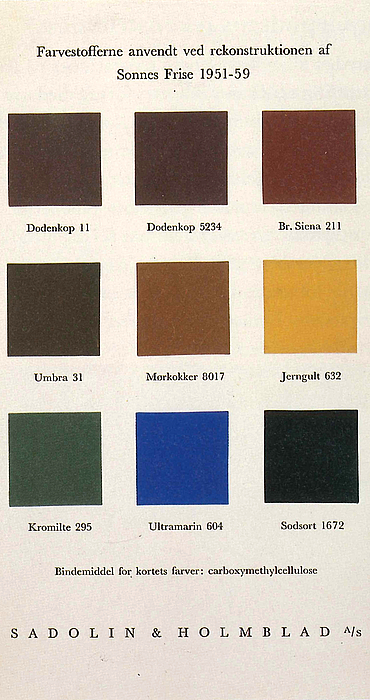 Farvepalet fra Sadolin og Holmblad. Sonnes frise