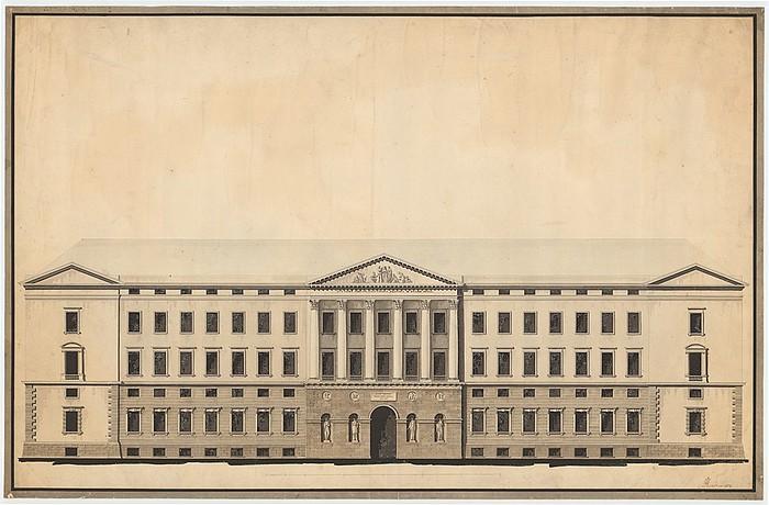 C.F. Hansen, Christiansborg Slot, hovedfacaden, inv.nr. K.S.73c