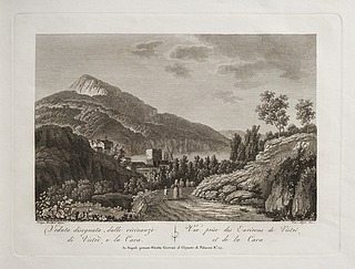 Veduta disegnata dalle vicinanze di Vietri e la Cavia