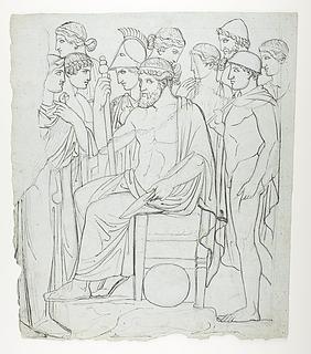 Zeus tronende og omgivet af andre guder