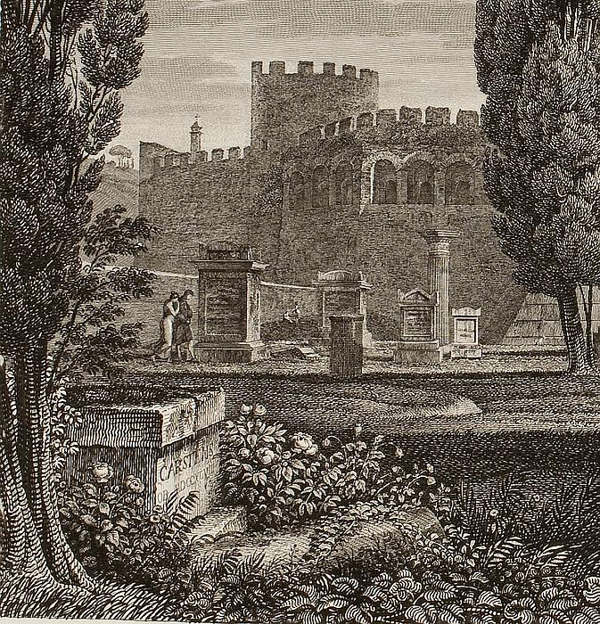 Veduta del luogo sepolcrale per gli'Acattolici (Prospekt af ikke-katolikkernes gravsteder)
