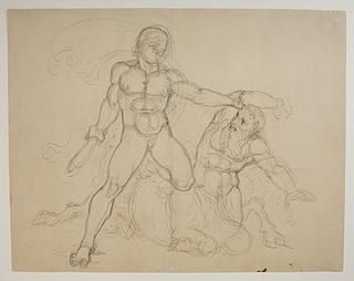 En heros (Theseus?) i kamp med en kentaur