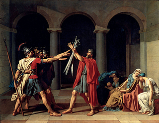Jacques-Louis David: Horatiernes ed, 1784-85, olie på lærred, 329,8 x 424,8 cm, Louvre, Paris
