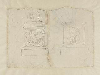 To sokler med relieffer (det ene Nessus og Deianira?)