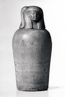 Kanopekrukke med menneskehovedlåg. Ægyptisk, Nye Rige - Sentiden