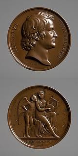 Medalje forside: Portræt af Thorvaldsen. Medalje bagside: Amor og Erato